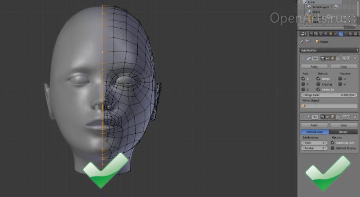 Модификатор Mirror в Blender - правильное использование