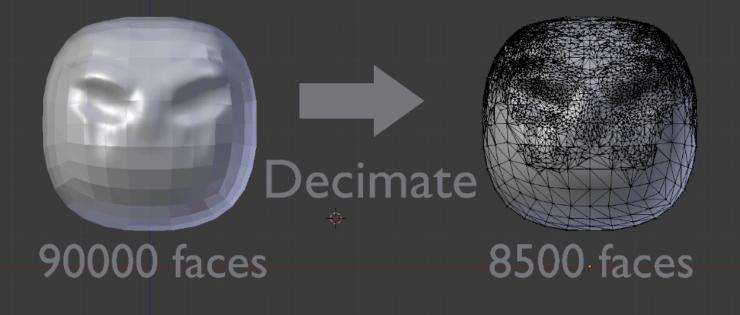 Модификатор Decimate в Blender