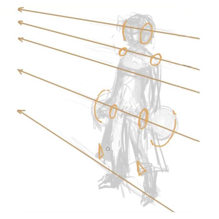 Выравниваем по перспективным линиям плечи, бедра, колени и ступни