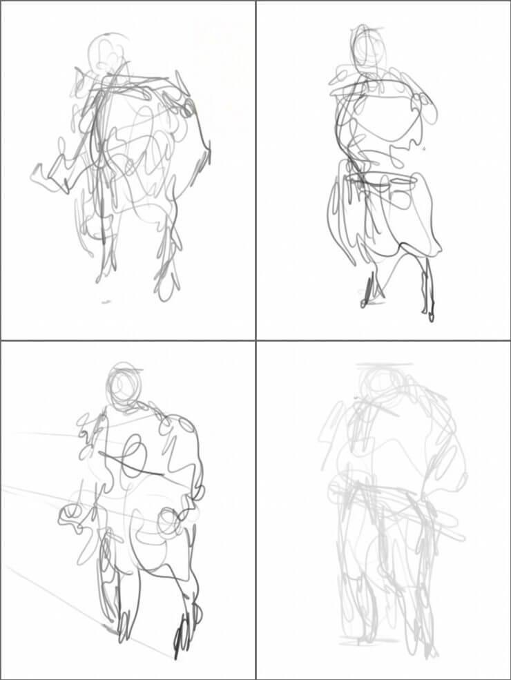 Создаем зарисовки будущего персонажа снова и снова