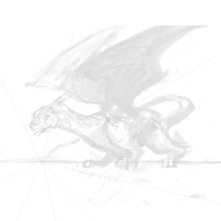 Система перспективы в наброске дракона