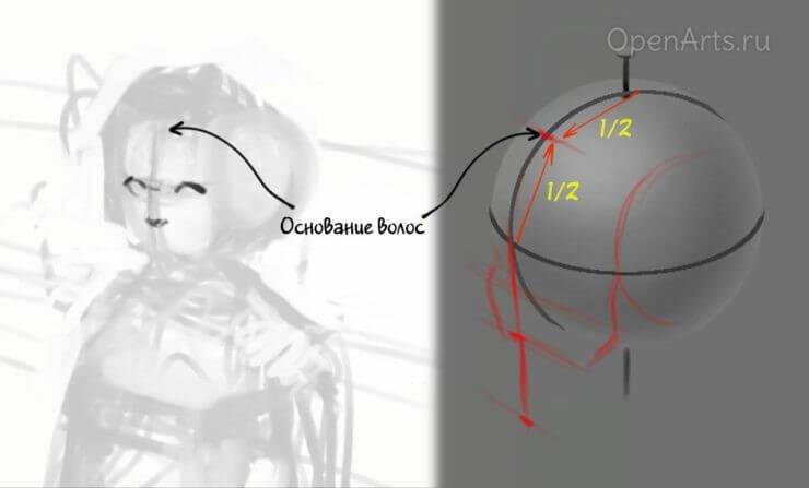 Определение линии волос на голове