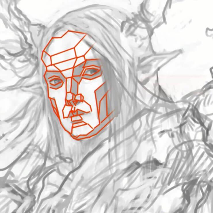 В процессе рисования представляйте в уме базовые объемы лица
