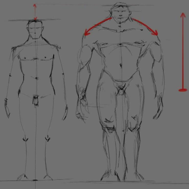 Рисование мускулистого персонажа