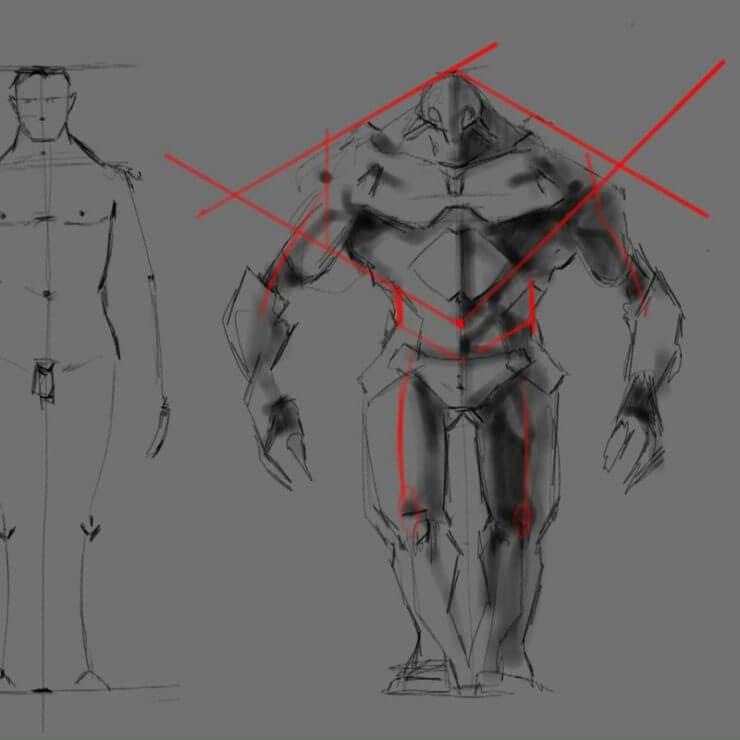 Рисование сильного персонажа