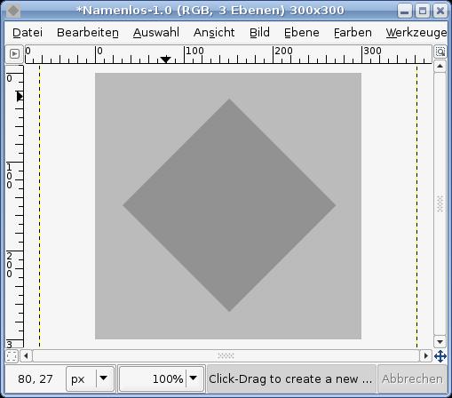 Делаем слой невидимым, создаем новый слой, в котором создаем квадрат и заливаем его цветом