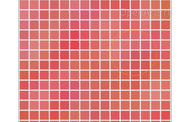 Разнообразие из 4 цветов в мозаике, созданной в Inkscape