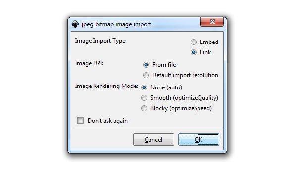 Импорт растрового изображения в Inkscape
