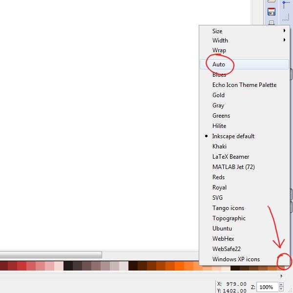 Меню выбора цветовой палитры в Inkscape