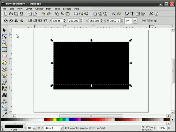 Перемещение объектов в Inkscape