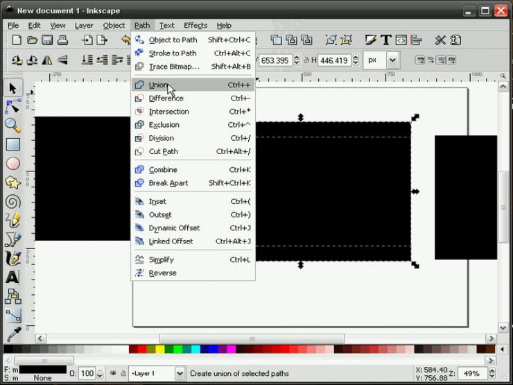 Создание суммы контуров в Inkscape