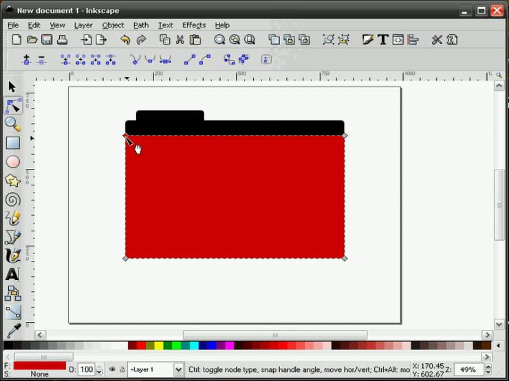 Выравнивание прямоугольника и контура в Inkscape