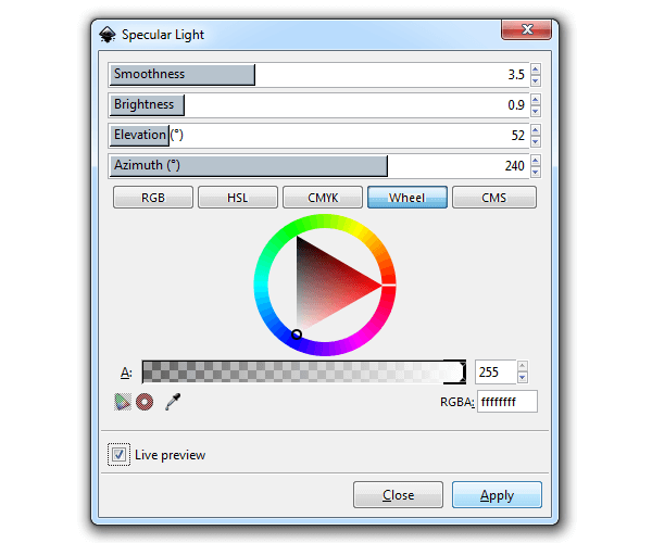 Эффект Specular Light в Inkscape