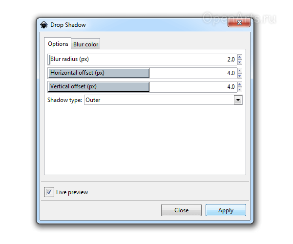 Диалог создания тени в Inkscape