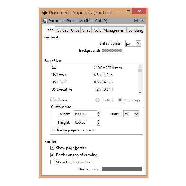 Свойства документа в Inkscape - размер страницы