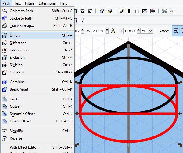 Объединение контуров в Inkscape