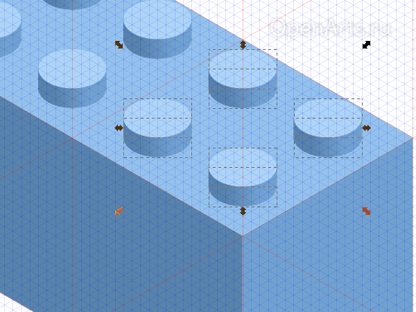 Дублирование коннекторов Лего в Inkscape