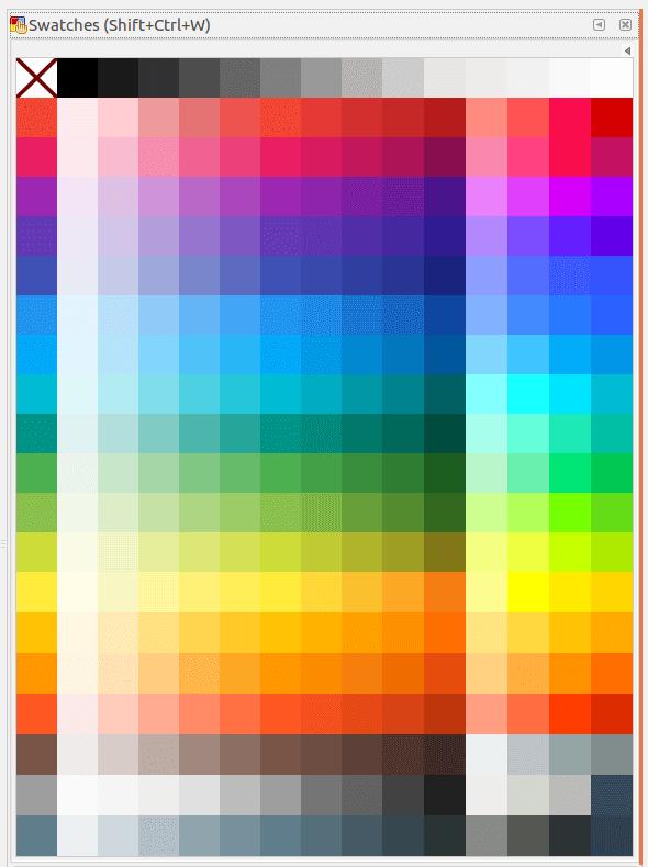 Палитра Google Material Design для Inkscape на панели Swatches