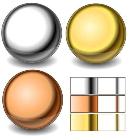 Создание различных металлических шаров в Inkscape