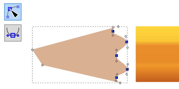 Преобразование острых узлов в сглаженные в Inkscape