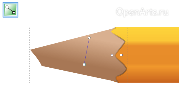 Добавление реалистичности границе заточенной части карандаша