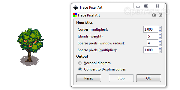 Диалог Trace Pixel Art в Inkscape