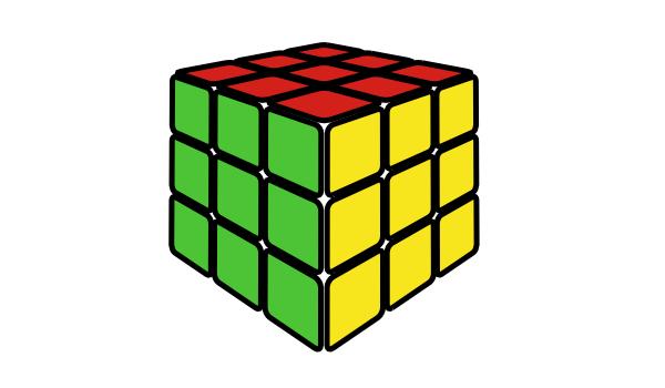 Промежуточный результат рисования кубика Рубика в Inkscape
