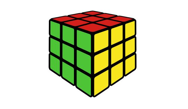 Готовый кубик Рубика, нарисованный в Inkscape