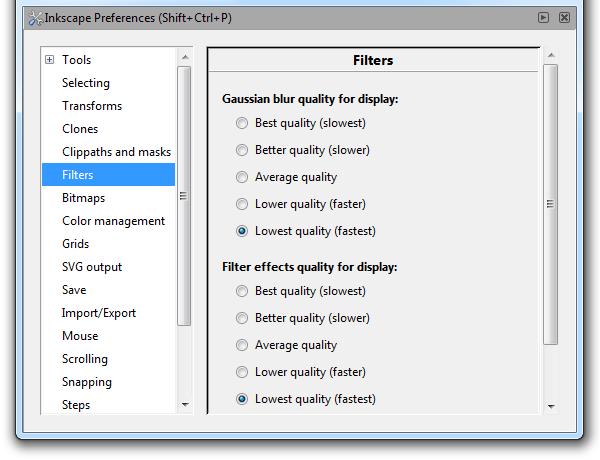Понижение качества отрисовки фильтров для улучшения быстродействия Inkscape