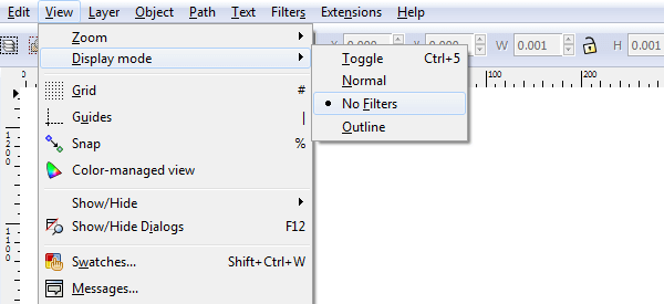 Изменение режима отображения (отключение отображения фильтров) в Inkscape