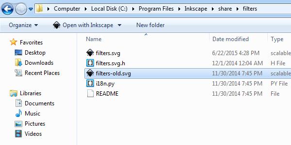 Сохранение пользовательского набора фильтров Inkscape в svg-файл