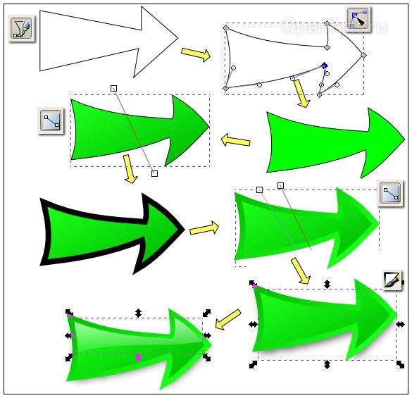 Пошаговый процесс рисования стрелки в Inkscape