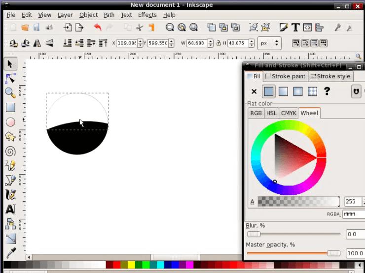 Перемещение полученной фигуры на круг в Inkscape