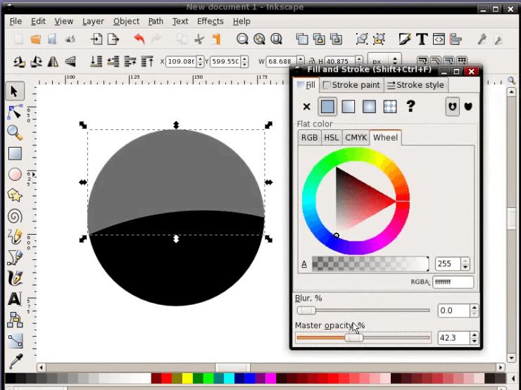Изменение прозрачности объекта в Inkscape