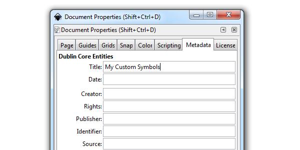 Диалоговое окно свойств документа в Inkscape, вкладка Metadata