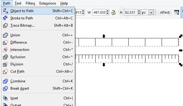 Конвертация объекта в контур в Inkscape