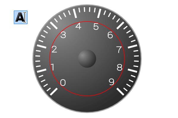 Цифры на тахометре в Inkscape