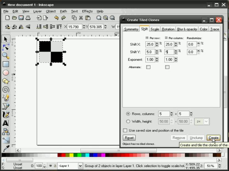 Диалог создания узора из клонов в Inkscape, вкладка Смещение