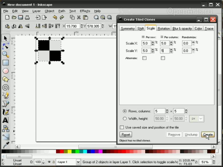 Диалог создания узора из клонов в Inkscape, вкладка Размер