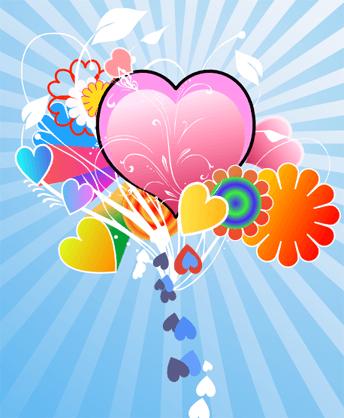 Финальное изображение созданной в Inkscape открытки на день святого Валентина