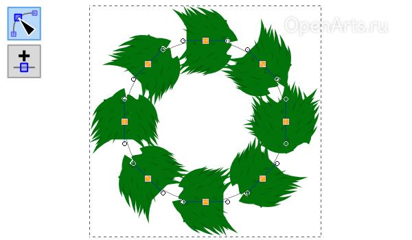 Добавление новых узлов на кривую в Inkscape