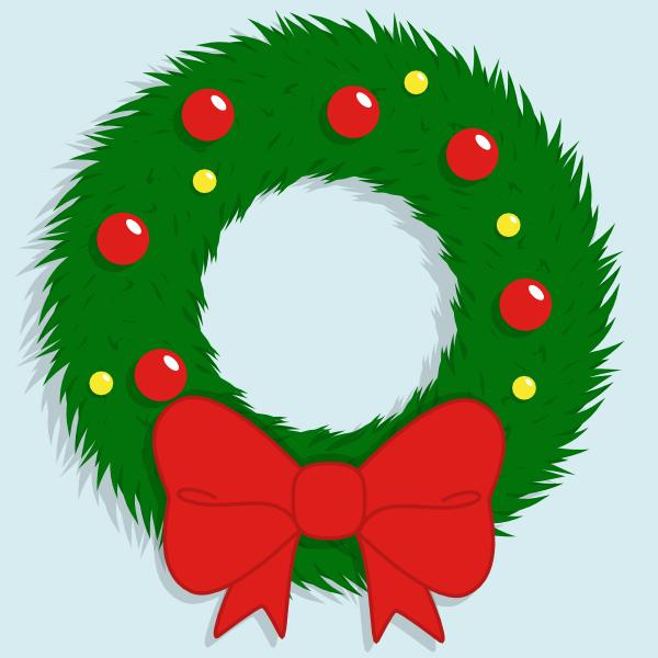 Финальное изображение нарисованного в Inkscape рождественского венка