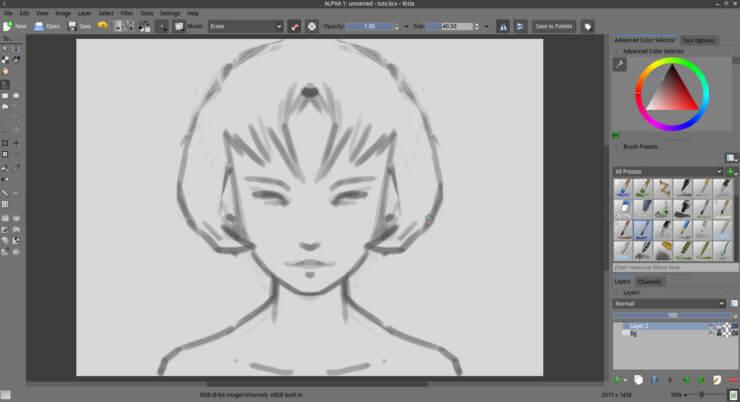 Рисование наброска головы в Krita