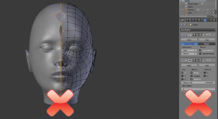 Модификатор Mirror в Blender - неправильное использование