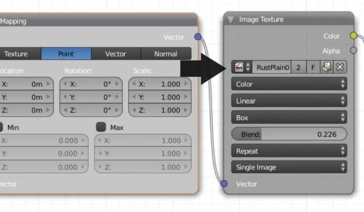 Текстурирование объекта в Blender без использования UV-развертки (ноды 2)