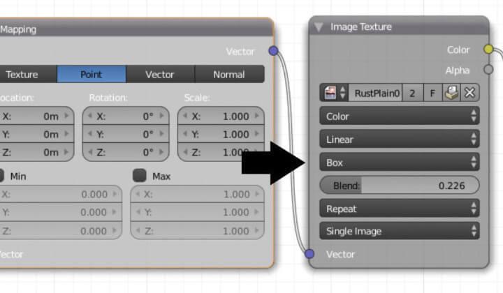 Текстурирование объекта в Blender без использования UV-развертки (ноды 3)