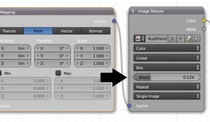 Текстурирование объекта в Blender без использования UV-развертки (ноды 4)