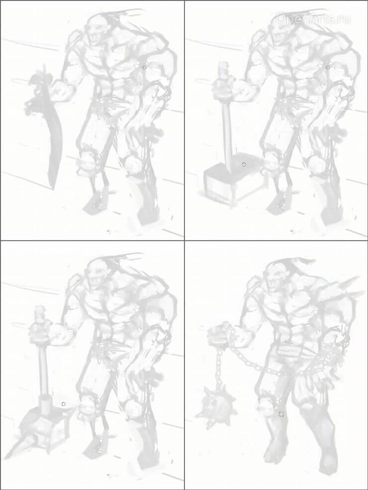 Различные варианты создания оружия для персонажа