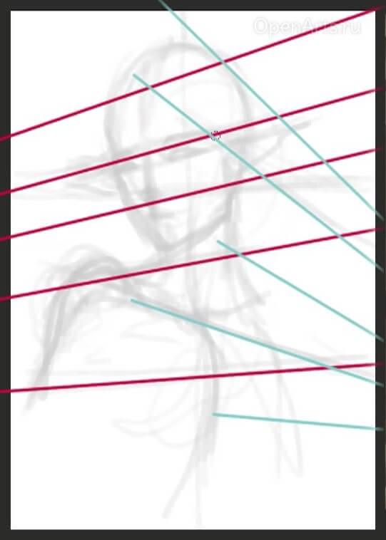 Перспективные линии при создании портрета