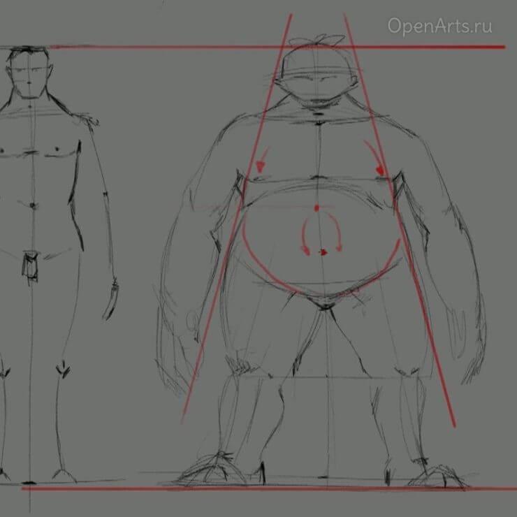 Рисование толстого персонажа